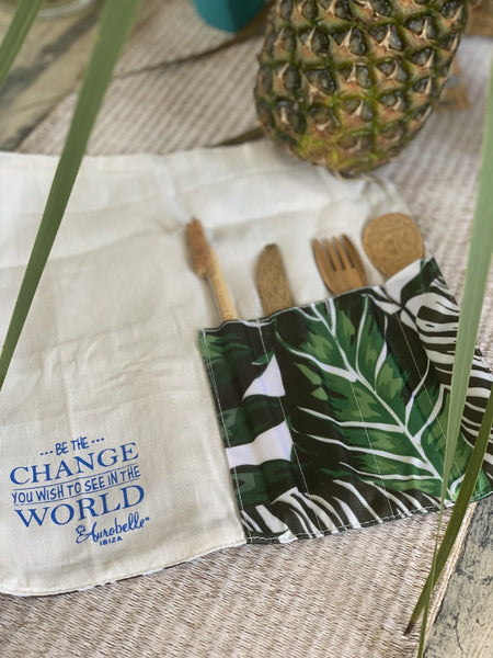Eco friendly cutlery and bamboo straw travel set , sustainable and practical. Jungle green -  AUROBELLE  IBIZA