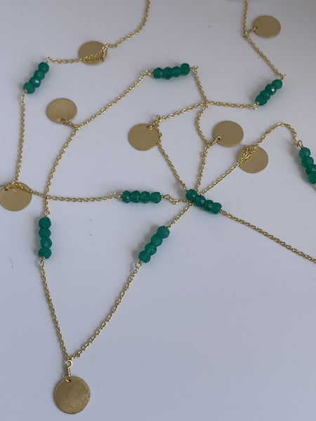 Emerald color gemstone designer necklace -  AUROBELLE  IBIZA