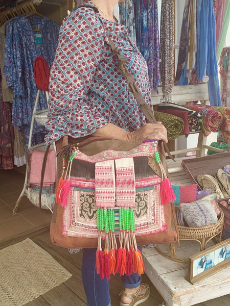 Ethic tribal ibiza   boho bag made with antique fabrics -  AUROBELLE  IBIZA