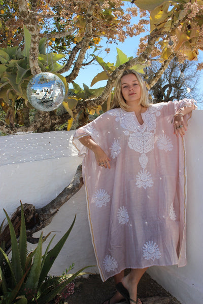 Exclusive chanderi   Silk cotton kaftan with hand embroidery -  AUROBELLE  IBIZA
