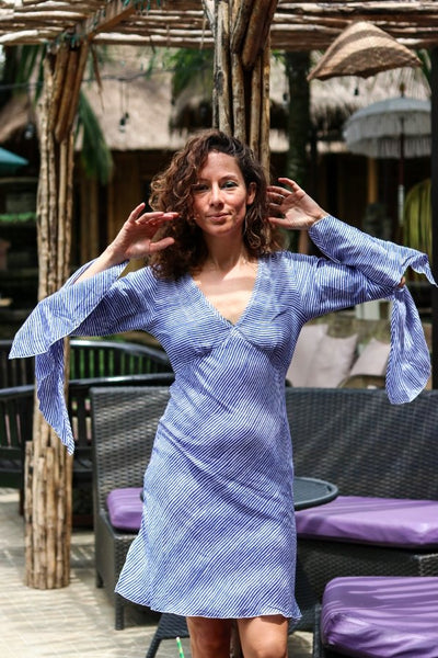 FIONA DRESS IN BLUE SEA -  AUROBELLE  IBIZA