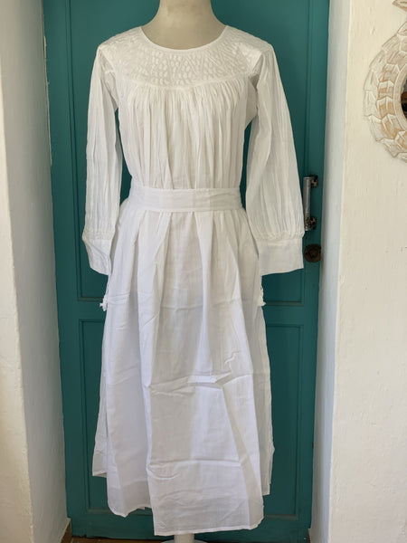 Free people white ibiza long cotton dress with hand embroidery - AUROBELLE IBIZA