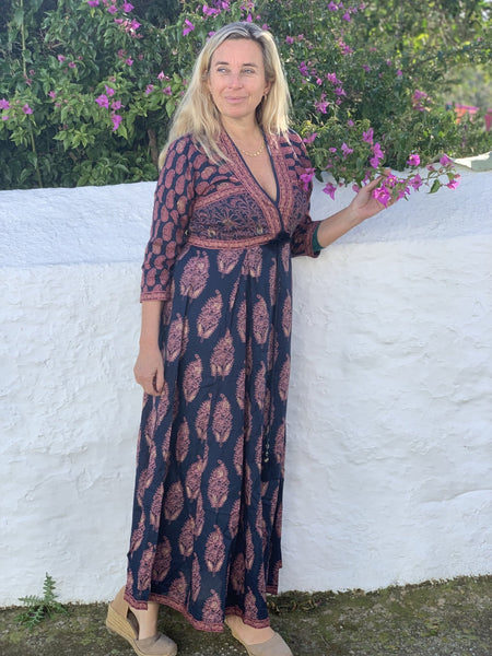 Gayatridevi dream boho  beauty dress dark blue and red -  AUROBELLE  IBIZA