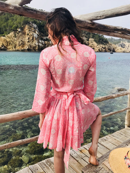 Goa dress in rosa flower block prints -  AUROBELLE  IBIZA