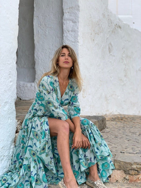 GODDESS DRESS PEACOCK -  AUROBELLE  IBIZA