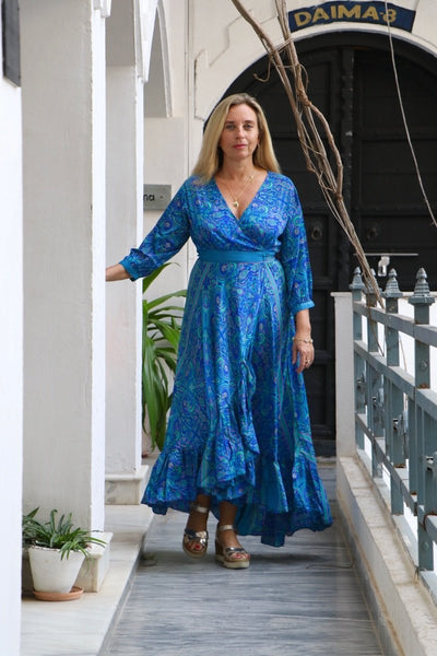 Goddess  wrap dress in silky blue ocean -  AUROBELLE  IBIZA