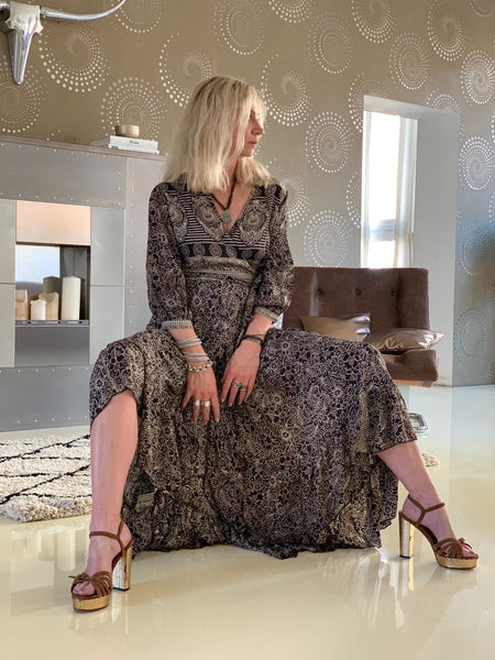 Goddess  wrap dress in silky elegant black and brown -  AUROBELLE  IBIZA
