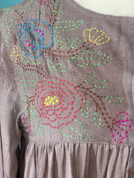 Gorgeous light muslin boho blouse with hand embroidery -  AUROBELLE  IBIZA