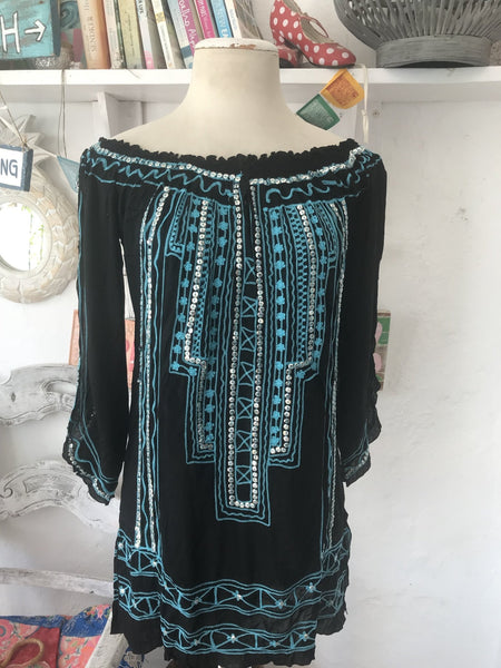 Ibiza beach boho Blouse black with sequins -  AUROBELLE  IBIZA