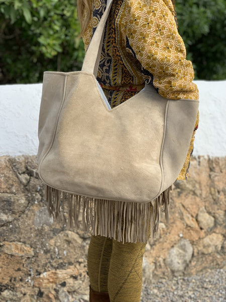 Ibiza bohemian suede leather banjara embroidery bag -  AUROBELLE  IBIZA