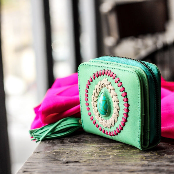 Ibiza leather boho purse turquoise -  AUROBELLE  IBIZA