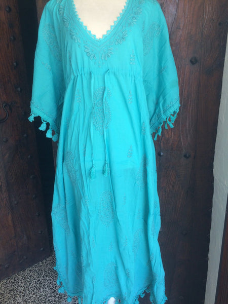 Ocean blue  Ibiza long kaftan with hand embroidery