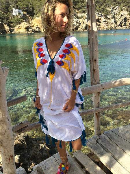 Mexican cotton kaftan with multi color hand embroidery and happy tazzles -  AUROBELLE  IBIZA
