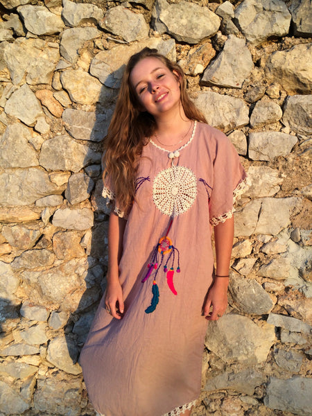 Mexican dream catcher cotton kaftan with multi color hand embroidery and happy tassels