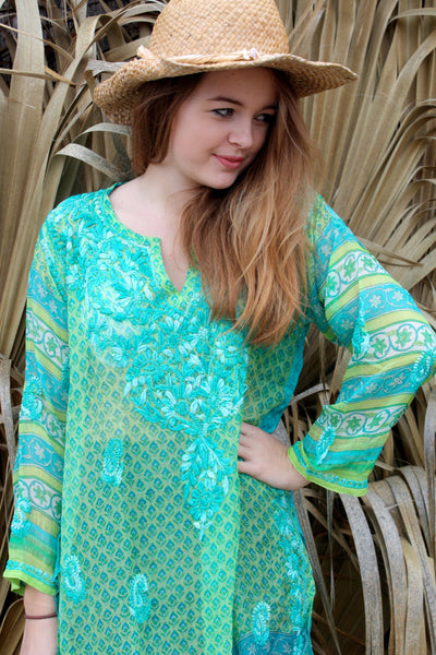Silk chiffon tunic in green and turquoise with amazing hand embroidery