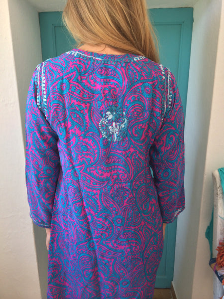 Silk kurta Ibiza style  chiffon tunic in flashy print with amazing chikan hand embroidery