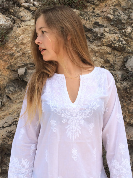 KURTA,White long  boho cotton kaftan with full hand embroidery