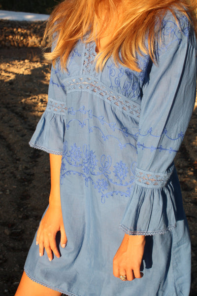 La isla blanca boho electric blue  dress Sale -  AUROBELLE  IBIZA