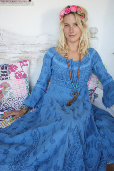 Romantic hand embroidery electric blue dress from Ibiza/ reduced  price