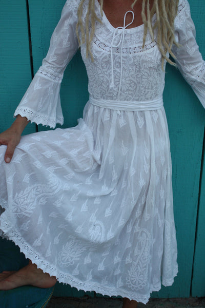 Romantic  white hand embroidery dress from Ibiza special price