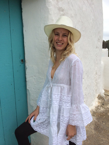 White Ibiza tunic dress in muslin cotton with exclusive lace embroidery summer sale