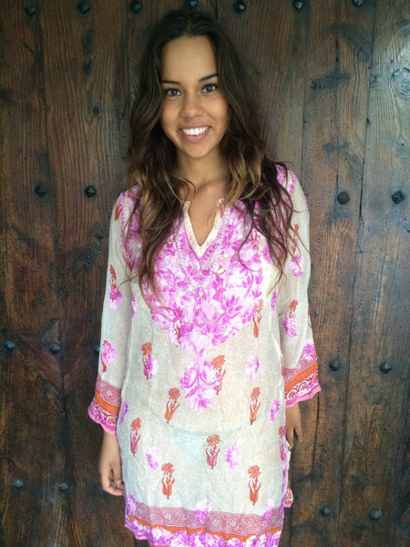 Silk chiffon tunic in off white and pink with small flower  design and amazing hand embroidery