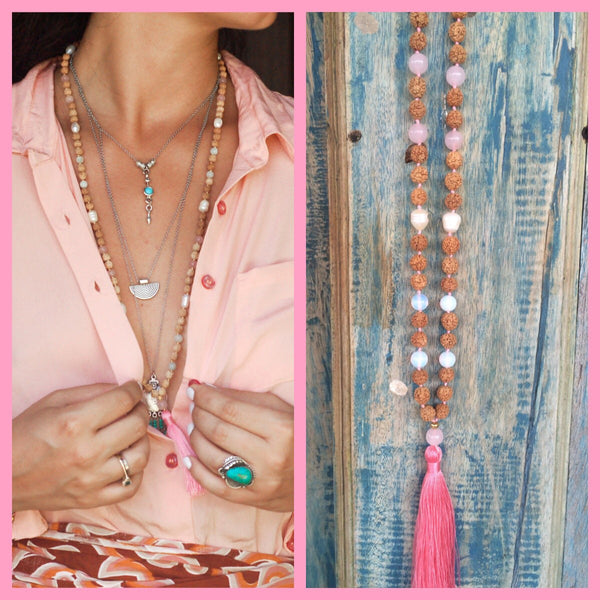 MALA,Yoga hand knotted rosequartz and moonstone rootchakra