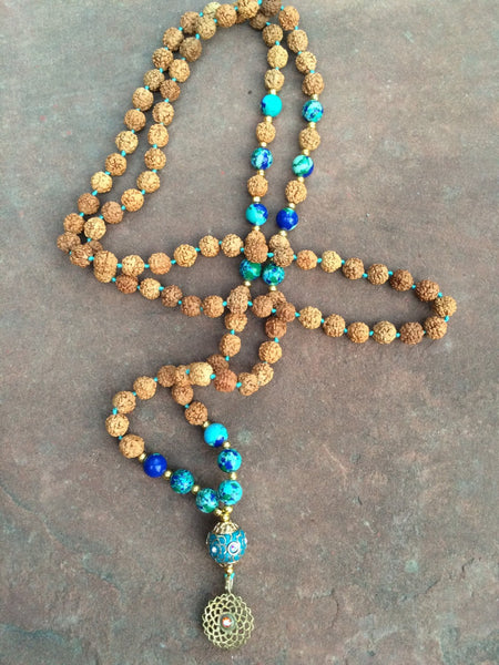 Mala highly powerful protecting Criscola turquoise stone  & rudraksha beads