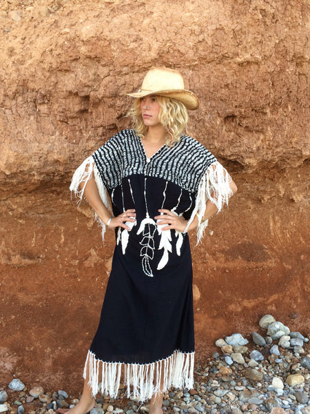 Mexican boho feather kaftan with hand embroidery