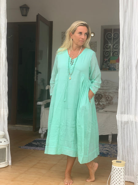 Mughal dress , softest muslin cotton  in aqua turquoise