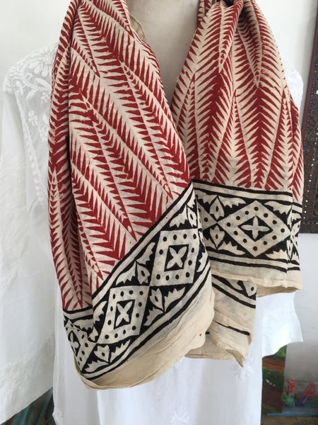 Bohemian hand block printed cotton Pareo for beach,shawl,home deco or travel