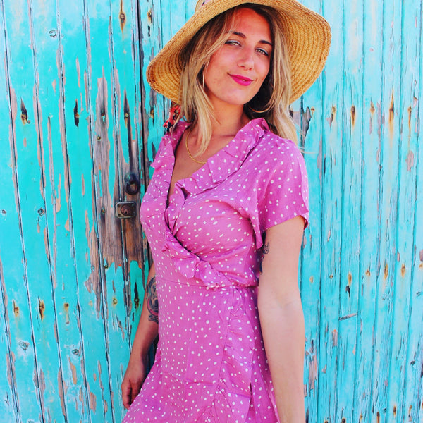Wrap dress short in  pink polka dot long sleeve