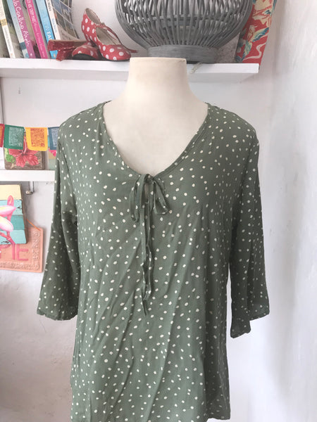 Ishi blouse olive green boho polka dot blouse