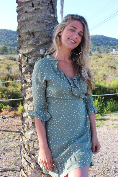 Wrap dress short In green polka dot long sleeves
