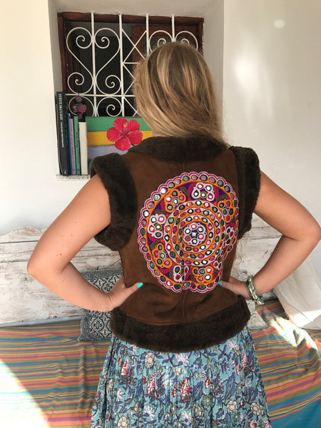 Boho leather gypsy vest with real warm fur