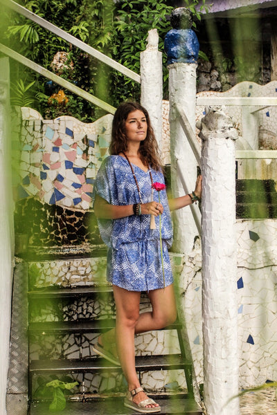 Blue jewel summer tunica dress