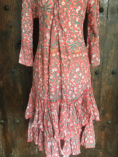 Romantic hand block printed flower dress from ibiza