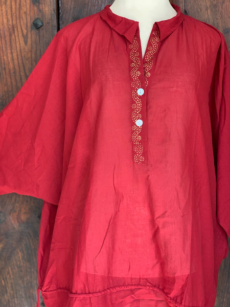 Gorgeous red free size muslin cotton tunica