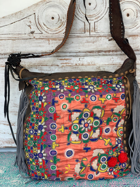 Big Bohemian Tote Bag with antique tribal embroidery and leather patchwork