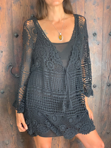 New ! Bohemian  tunica dress in black -  AUROBELLE  IBIZA