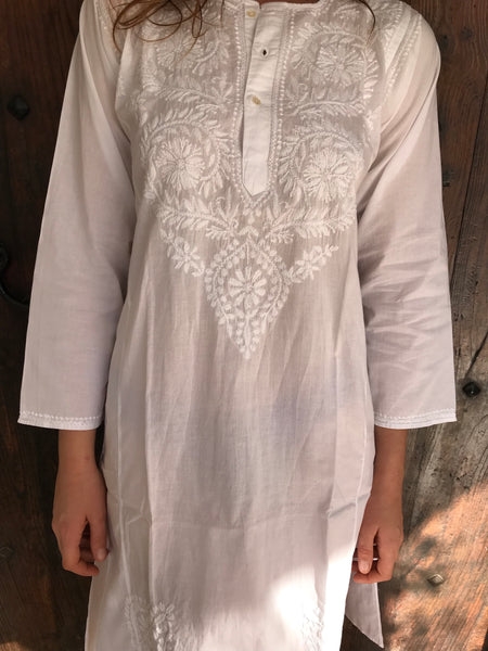 White cotton blouse with hand embroidery
