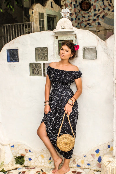 Frida Kahlo Open shoulder black dots dress