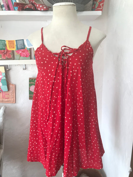 Lace top in cherry red polka dot