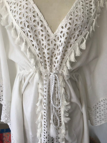 Tarifa , white lace cut resort wear wear short long beach kaftan