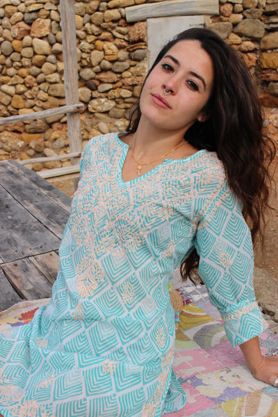 V neck kurta turquoise Malediven hand block print with hand embroidery