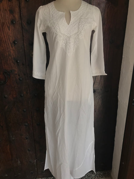 Long white Kaftan cotton with hand embroidery