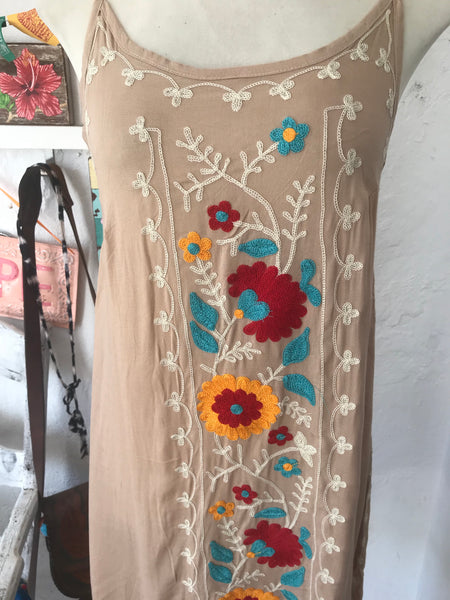 Ibiza sun dress with flower embroidery