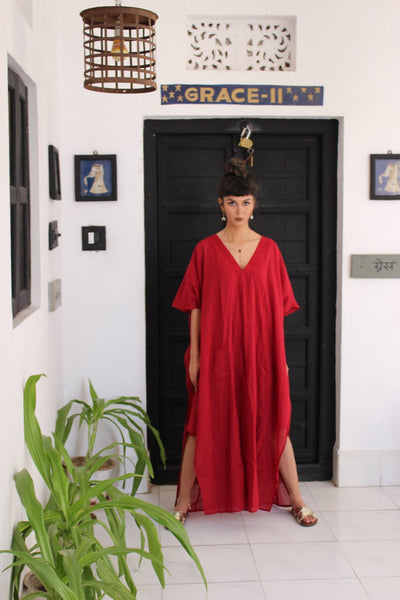 Japan super light muslin cotton dress or blouse red -  AUROBELLE  IBIZA