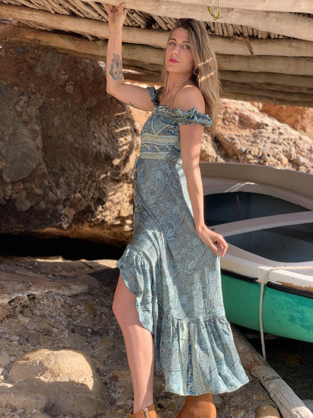 Karen dress in pastel green -  AUROBELLE  IBIZA
