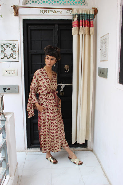 Kimono dress dark red -  AUROBELLE  IBIZA